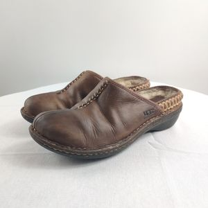 UGG sherpa lined  brown leather mules